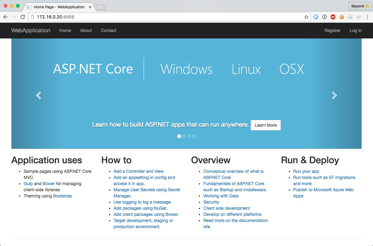 .NET core for docker