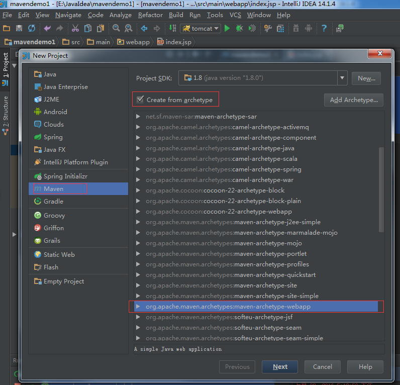 IntelliJ IDEA14 和 Maven 系列:使用IntelliJ IDEA 14和Maven 7 创建java web项目(一)