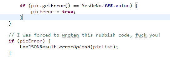 I was forced to wroten this rubbish code...